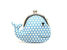Cute cerulean blue whale clutch purse by misala on Etsy