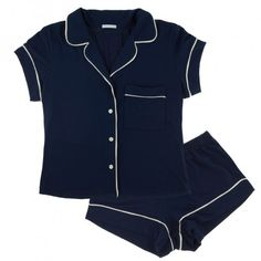 adorable navy + white pajama set