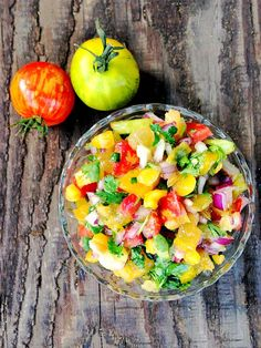 Bright and Fruity: Yellow and Red Heirloom Tomato White Plum Salsa #recipe #vegan #flexitarian #glutenfree