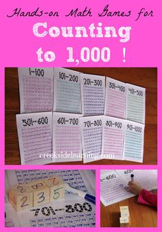 Hands-On Math: Games for counting to 1,000!  From Creekside Learning.