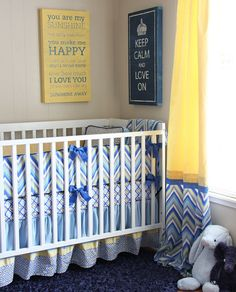 Yellow  grey Nursery blue boy crib baby room