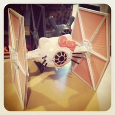 Hello Kitty TIE Fighter by Manly Art, via Flickr hello kitti, kitti tie, tie fighter, starwar, ties, star wars, son, daughters, hello kitty