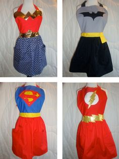 I would love to make superhero aprons for my chick-friends.