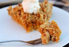 Pumpkin Pie with Gluten Free Oatmeal Cookie Crust