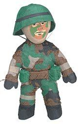 Army Man Pinata with Pull String Kit by Shindigz. $12.99. Our Camouflaged Army Man Pinata fulfills his duty as snack-bearer for your party. This Army Man Pinata measures 10 1/2 inches high x 8 inches wide. Simply fill with our 2 lb. bag of Pinata Filler. Pull-String Kit is included. Our 2 lb. bag of Pinata Filler contains 1.4 lb. of candy and .6 lb. of toys and trinkets. Not intended for use by children 3 and under.