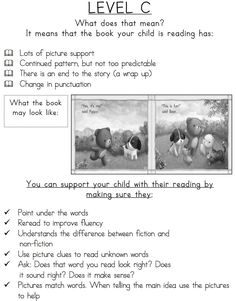 Guide to Reading Levels: A - R Characteristics of Leveled Texts for Parents!