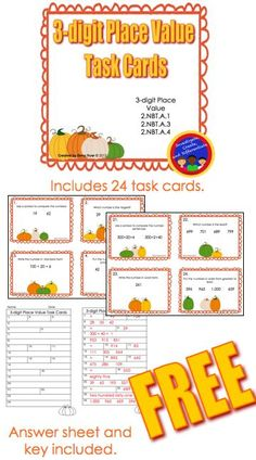 Free 3-digit Place Value Task Cards with a Pumpkin Theme.  24 task cards, recording sheet and answer key all included.