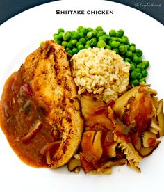 Shiitake Chicken with brown rice and peas ~ The Complete Savorist