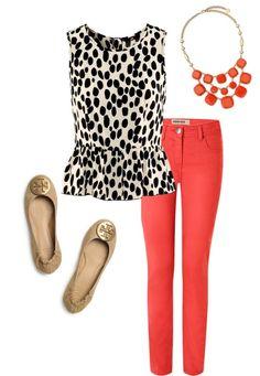 Orange jeans, white polka dot top, black jacket, nude flats