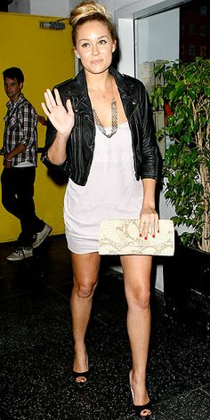 Simple and chic. #LaurenConrad in cropped #leather jacket and #snakeskin clutch