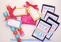 "End of year gift ideas.  Gumballs and beach balls with the tags ""hope you have a ball this summer!""  and poprocks with ""Hope your summer rocks!""  Too cute!"