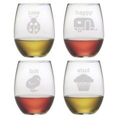 Add a charming touch to your table with this stemless wine glass, showcasing a whimsical sand-etched typographic motif.