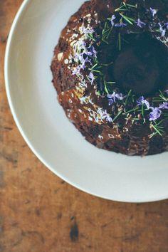 my darling lemon thyme: dark chocolate, pear + rosemary cake {gluten + dairy-free}