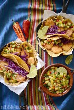 Coconut Shrimp Tacos with Pineapple Pico de Gallo.  #KikkomanSabor