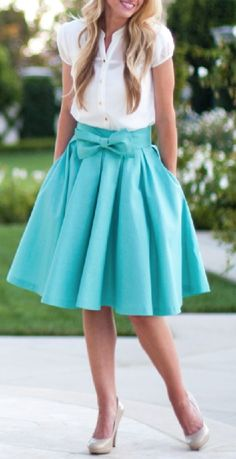 Mint bow midi skirt find more women fashion ideas on www.misspool.com mint bow, full skirts, fashion, style, cloth, bows, closet, spring outfits, bow skirts