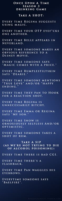 Once Upon A Time Season 3 Drinking Game we made up last night since we couldn't find one online.