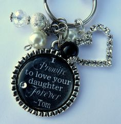 Mother of the BRIDE gift, I Promise to Love your daughter Forever Personalized wedding pendant black background white thank you gift groom