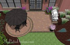 Small Patio... make square/rectangle from my side door to the end of the house, then a half circle at the corner... enough room for seating and a grill.