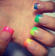 #acrylic #rainbow #glitter #nails