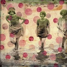 polka dots, collage art, at the beach, collages, mix media, flappers, print, beach collage, mixed media collage