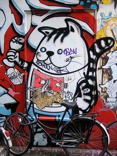 Cat on a bike, Amsterdam