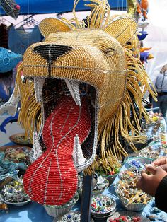 Beaded Wire Lion Sculpture
