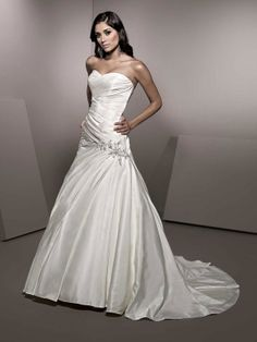 Amazing A-line dropped waist satin wedding dress