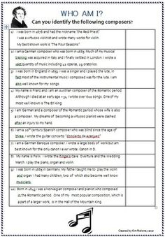 Composer Research Activities  You will find this a great resource to have because it can be used in so many ways:  -a class research task,  -set as an assignment,  -homework or  -left as a sub lesson when you are away.