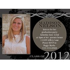 This chic graduation invitation allows you to add your own photo. graduat invit, graduat 2014, graduat photo, chic graduat, modern chic, parties, photo card, graduation invitations, graduation photos