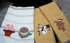 Machine embroidery design hand towels.