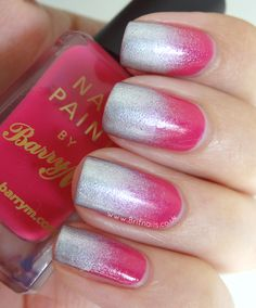 Pink and Silver Gradient, using Barry M Shocking Pink and Silver Foil Effects