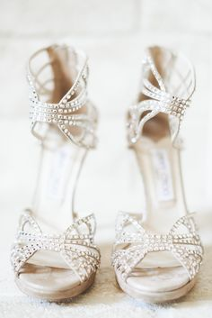 Sparkly Jimmy Choos #shoes Photography: Paper Antler - paperantler.com  Read More: http://www.stylemepretty.com/2014/05/16/traditional-golf-club-wedding/