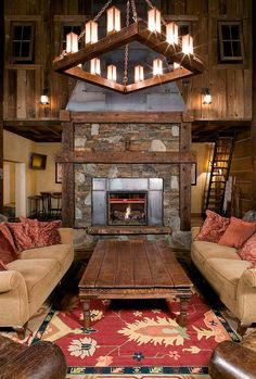 100's of Indoor Fireplace Ideas. Thanks To NJ Estates Real Estate Group  http://www.njestates.net/ coffee tables, living rooms, ski slope, rustic homes, indoor fireplaces, camps, high camp, cabin fever, dream houses