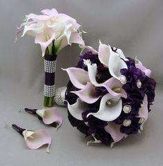 Purple Lavender Real Touch Calla Lily Wedding Flower Package Lavender White Calla Lilies Purple Hydrangea Rhinestone Pearl Accents via Etsy