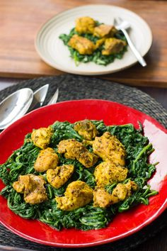 To the T: Pickled Chicken on a bed of Garlicky Spinach (Achari Chicken ...