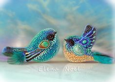 Blue bird brooches, turquoise, larimar. Embroidered brooch.