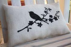 idea, porch rocker, rockers, freezer paper, burlap pillows, papers, porches, birds, stencils