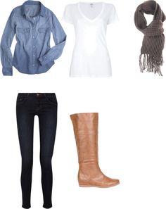 Fall Fashion - denim shirt, black jeggings, brown boots