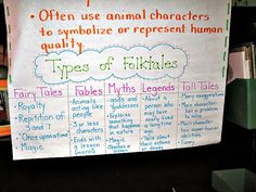 close-up of folktales anchor chart -  Finally, a chart that simplifies the folktale genre!