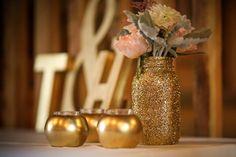 Gold, Mint and Blush wedding, gold mason jars on etsy! Heather + Todd Wedel Wedding