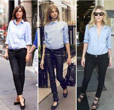 blue collared shirt, black skinnies, black heels.