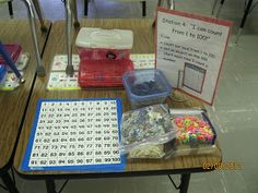 TONS of 100 Day Center Ideas. I love the hunting for 100 Hershey kisses activity!