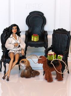 Diorama finds!  Gothic 1/6 scale chairs and dogs :-)