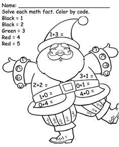 Kindergarten Math Facts - Santa, Color by Code