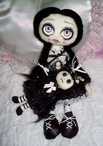 Handmade Art Rag Doll~Wednesday   Gothic Dolls, Clothing Dolls, Gothic Art, Handmade Art, Dolls Business, Ooak Handmade, Art Dolls, Rag Dolls Wednesday, Art Rag