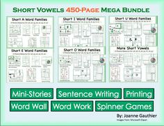This 450+ pages Phonics and Writing resource helps students master Short Vowel Word Families while also practicing basics such as letter formation and sentence writing.