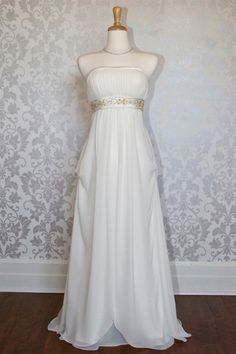 Princess strapless empire A-line wedding dress