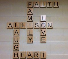 Wall decor made with large wooden tiles and (silhouette cameo) vinyl letters