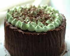 Mint Layer Cake with White Chocolate Mint Ganache Filling and Chocolate Fudge Icing