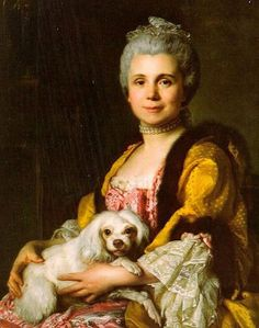 Duplessis Joseph Siffred - 1725 - 1802 - is the french painter who painted this grand Dame with her Maltese. We do not know who she was but I really like her. She and her Maltese look at us through time with intelligent and smiling eyes, I wish I could have been her friend. I think she was a very interesting human being and so was her little Maltese!